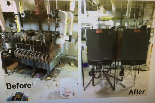Cast Iron Boiler replaced with 2 Condensing Boilers Dodge City Public Library Dodge City, Ks