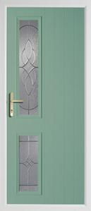 2 square rebate composite door in chartwell green