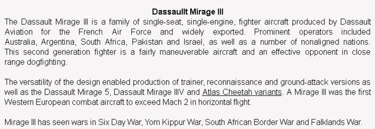 wiki background for 4D model of Dasault Mirage III