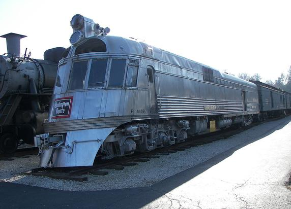 The Silver Charger, power car of the General Pershing Zephyr train.