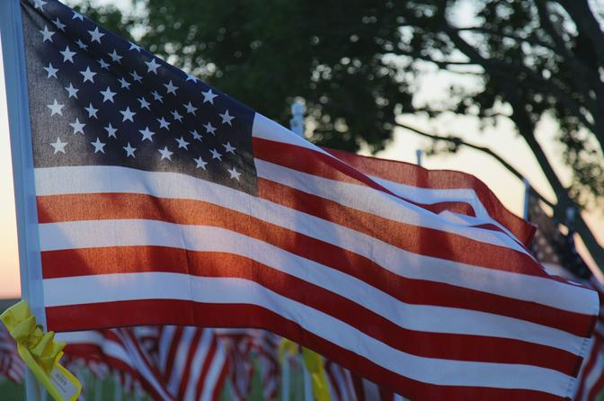 "flag with other flags partly visible behind it in dappled sunlight under trees, light shining through flags, called ""Memorial Day"", blue border"