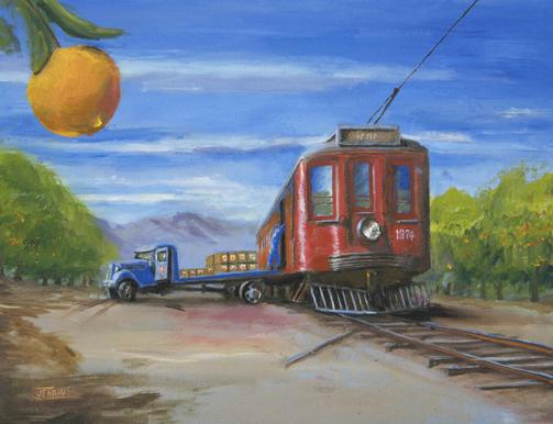 Pacific Electric trolley interurban painting