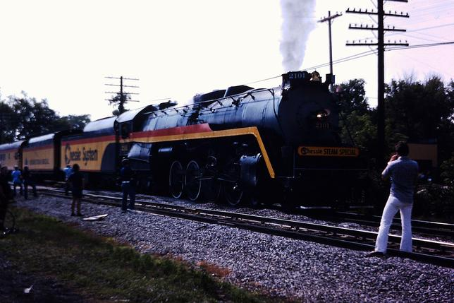 The Chessie Steam Special at Plymouth, Michigan. The train is led by the former Reading Baldwin 4-8-4 No. 2101, July, 1977.