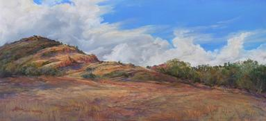 Breaking the Drought, plein air pastel by Lindy C Severns
