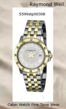 Product Specifications Watch Information Brand, Seller, or Collection Name Raymond Weil Model number 5599-STP-00308 Part Number 5599-STP-00308 Model Year 2011 Item Shape Round Dial window material type Anti reflective sapphire Display Type Analog Clasp deployment-clasp-with-double-push-button Case material Steel and 18k gold Case diameter 39 millimeters Case Thickness 8 millimeters Band Material Two-tone stainless steel Band length Men's Standard Band width 20 millimeters Band Color Silver Dial color White Bezel material Yellow gold Bezel function Stationary Item weight 1.1 Pounds Movement Swiss quartz Water resistant depth 165 Feet