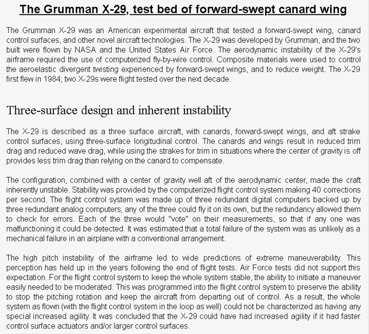 wiki background for 4D model of Grumman X-29