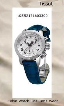 Watch Information Brand, Seller, or Collection Name Tissot Model number T0552171603300 Part Number T0552171603300 Item Shape ROUND Dial window material type Scratch-resistant sapphire crystal Display Type ANALOGUE Case diameter 3.5 centimeters Band Material Leather Band width 1.5 centimeters Band Color BLUE Dial color SILVER/WHITE Bezel material Fixed Stainless Steel Special features Tissot Chronograph Silver Dial Stainless Steel Ladies Watch T0552171603300, Silver Dial, Tissot, Stainless Steel, Chronograph Movement Quartz ETA G15.211 Water resistant depth 200 Meters
