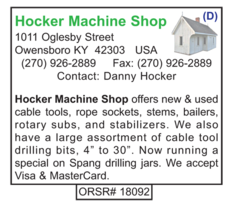 Hocker Machine Shop, Supplies