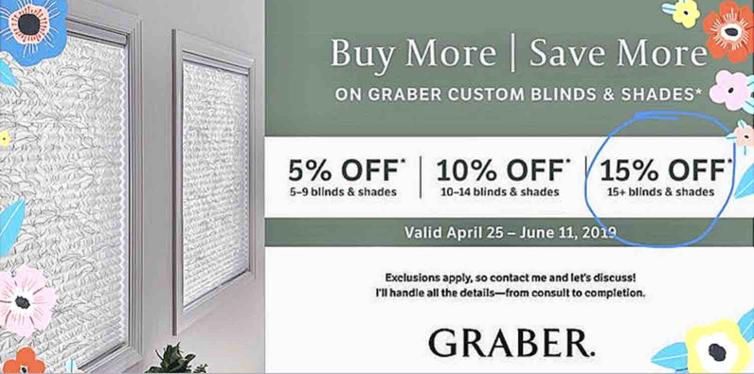 Graber sales, discount pricing r.a. stone interior designs