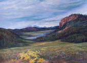 High Summer on the Rio Grande original pastel by Lindy Cook Severns for sale