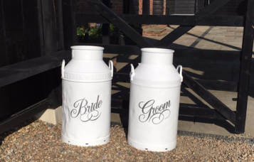 bride & groom milk churns
