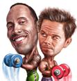 Caricatures of Dwayne Johnson and Mark Wahlberg