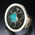 Carol Holaday - Abundance Meditation ring - ancient Chinese coin, turquoise, silver