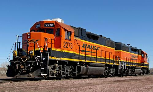 BNSF Railway GP38-2 no. 2273 at Lincoln, Nebraska, in 2014.
