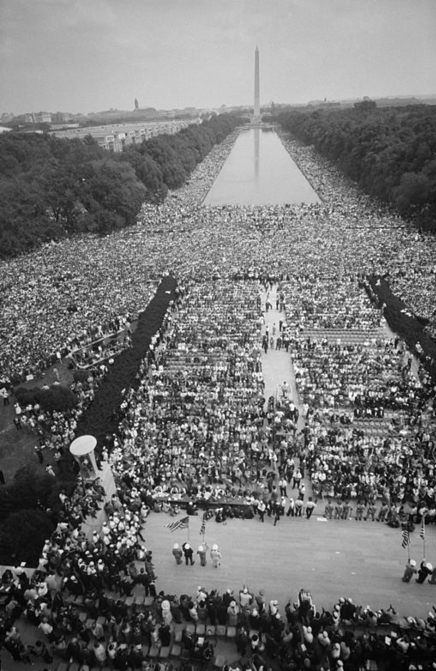 aerial view of 1963 civil rights rally around reflecting pool with Washington Monument in background