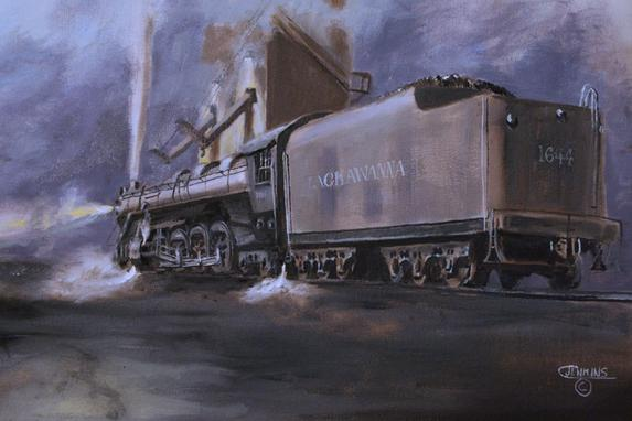 railroad steam engine night painting