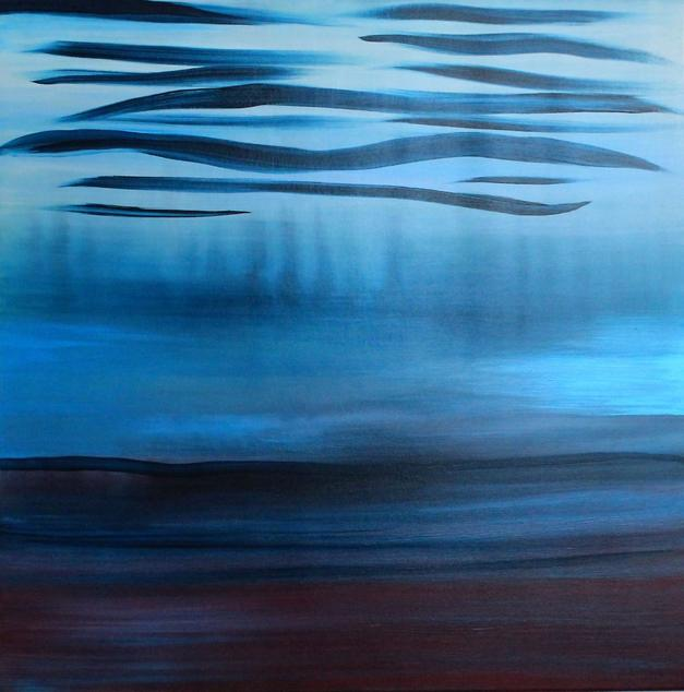 A Soft Day, 2019. 80x80cm. Acrylic paint on canvas, varnished. Original abstract blue seascape painting by Orfhlaith Egan Art. Berlin and Cornamona.