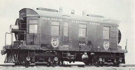 Builder's photo of Dan Patch Electric Lines gas-electric boxcab locomotive with road number 100 - the first commercially successful internal combustion engine powered locomotive built in the United States, completed on July 2, 1913 by General Electric.