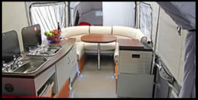 interior photo of the air opus inflatable trailer