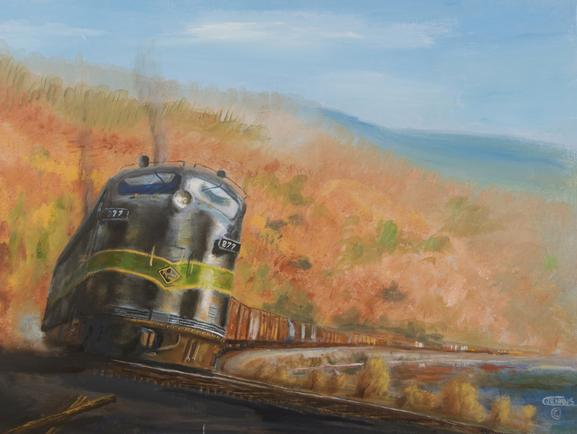 painting railroad freight train Reading