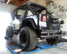 Emissions Repair Complete - Jeep being tested on the ADEQ Dyno - Apex Automotive Phoenix