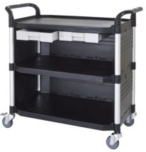3 shelf largest plastic cabinet utility carts, service trolley manufacturer Taiwan