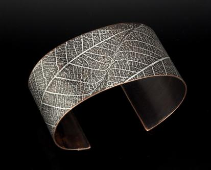 Carol Holaday - Leaf Print copper cuff