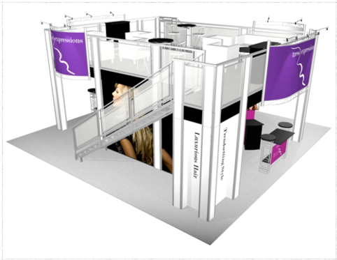 Tress Expressions Double Deck 30 x 30 trade show booth side view.