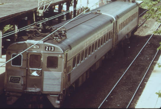 A Penn Central operated Silverliner II coupled to a Silverliner III at Chestnut Hill West in 1974.