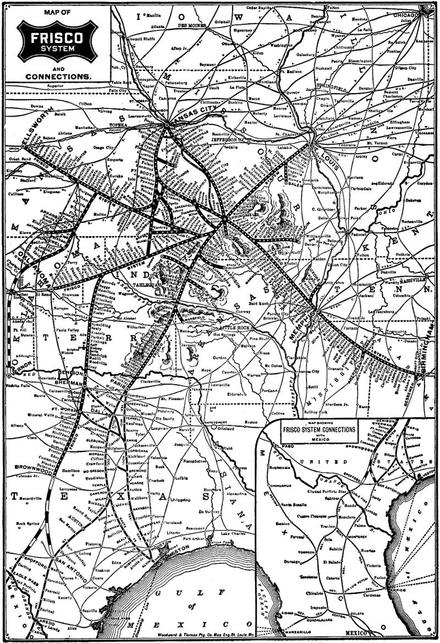 Map of the Frisco system about 1901-1903, showing planned extensions of the newly acquired FW&RG from Brownwood to Spofford and San Antonio.