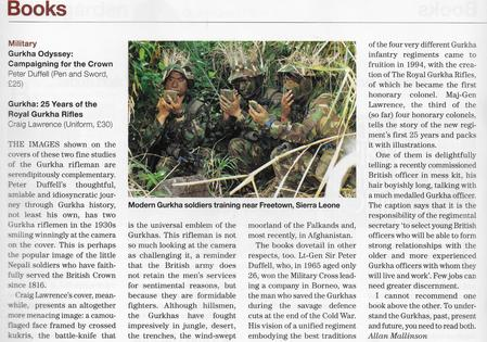 Review of Craig Lawrence's new Gurkha book (about the RGR) in Country Life Magazine