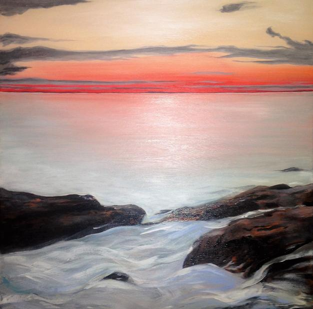 Red Glow. 40x40cm. Private collection Arizona, USA. Original contemporary representational acrylic seascape painting by Irish artist Orfhlaith Egan. Orlainberlin Charlottenburg landscape painter.