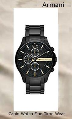 Product specifications Watch Information Brand, Seller, or Collection Name A|X Armani Exchange Model number AX2164 Part Number AX2164 Model Year 2015 Item Shape Round Dial window material type Mineral Display Type Analog Clasp Fold-over-clasp-with-safety Case material Stainless steel Case diameter 46 millimeters Case Thickness 7 millimeters Band Material Stainless steel Band length Men's Standard Band width 22 millimeters Band Color Black Dial color Black Bezel material Stainless steel Bezel function Unidirectional Special features Chronograph, measures-seconds Item weight 1.8 Pounds Movement Analog quartz Water resistant depth 165 Feet,armani