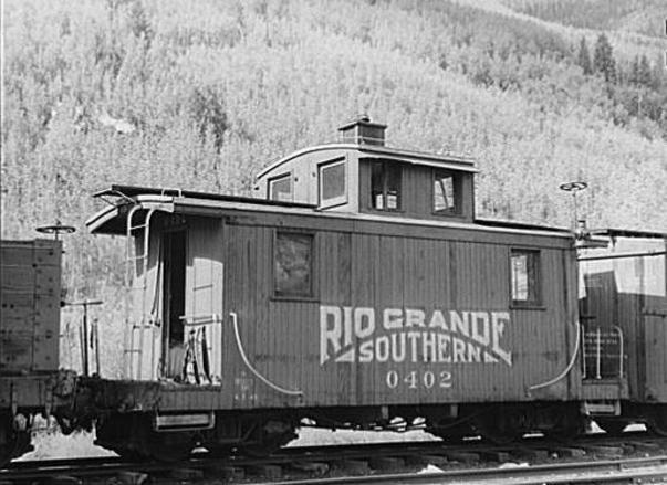 Rio Grande Southern narrow gauge railway Caboose No. 0402 at Telluride, Colorado in 1940. Library of Congress.