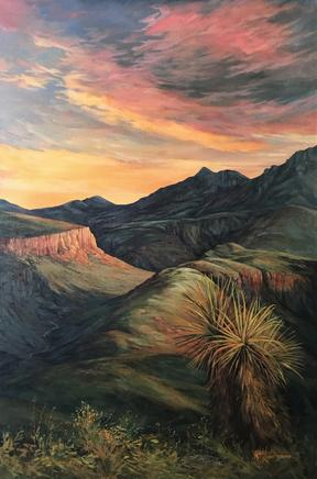Sunset on Land Untamed, large oil landscape painting of Pinto Canyon and Chinati by Lindy C Severns