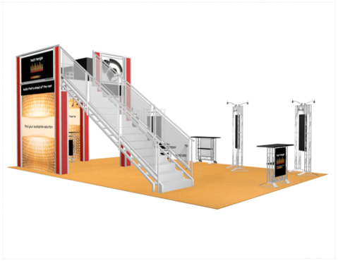Tech Tangle 20 x 30 double deck trade show booth front view.