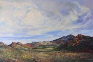 Open Range, large plein air pastel of the Davis Mts by Lindy C Severns