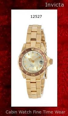 Watch Information Brand, Seller, or Collection Name Invicta Model number 12527 Part Number 12527 Model Year 2014 Item Shape Round Dial window material type Mineral Display Type Analog Clasp Fold-Over Clasp with Safety Case material Stainless steel Case diameter 25 millimeters Case Thickness 11 millimeters Band Material Stainless steel Band length Women's Standard Band width 12 millimeters Band Color Gold Dial color Yellow Bezel material Stainless steel Bezel function Unidirectional Calendar Date Special features Luminous, measures-seconds Item weight 15.84 Ounces Movement Japanese quartz Water resistant depth 660 Feet