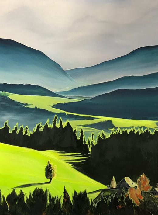 Green Valley. Neon Series. 80x60cm. Acrylic on canvas. Neon landscape painting by Orfhlaith Egan, Berlin and Cornamona.