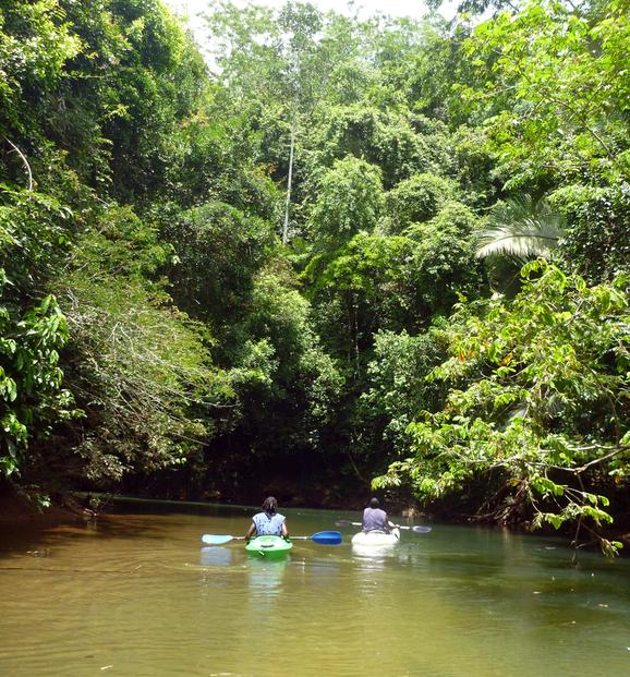Two people kayak down the Manatee river in Belize. Belize Adventure Tours