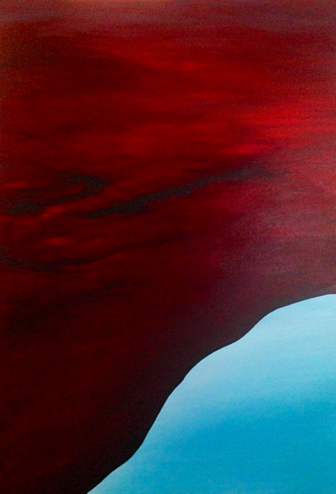 Red Earth 2. 2018. 100x70cm. Acrylic on canvas. Varnished. Re-imagined landscape painting by Irish artist Orfhlaith Egan. Berlin, Germany.