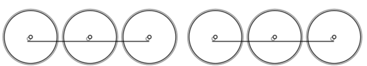 Diagram of the 0-6-6-0 Wheel Arrangement: six driving wheels in two trios, each trio joined by side rods.