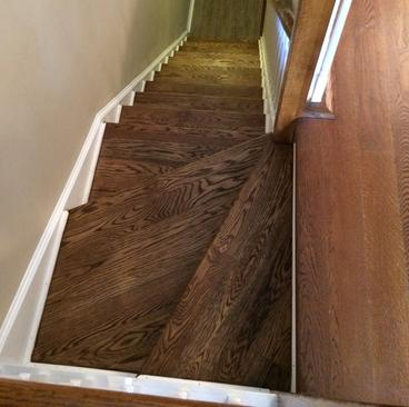 Remodeled basement- red oak stairs- finished basement-