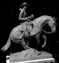 Cowgirl and Reining Horse Western bronze statue