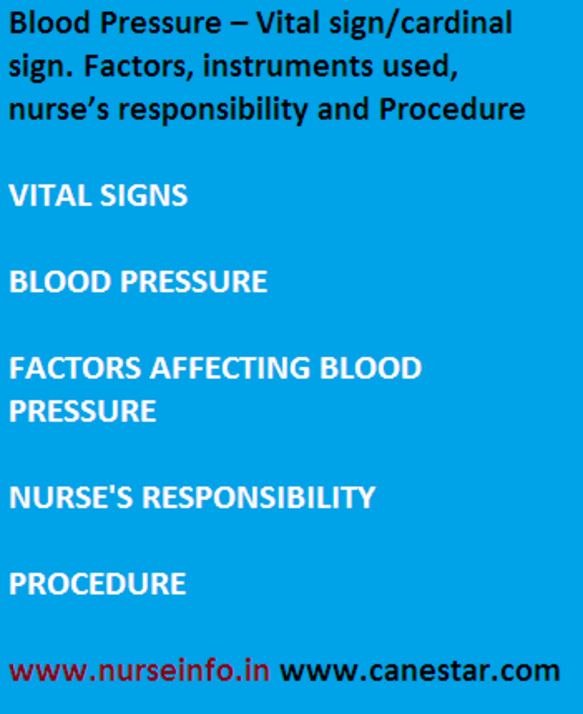blood pressure - vital sign, nurse's responsibility