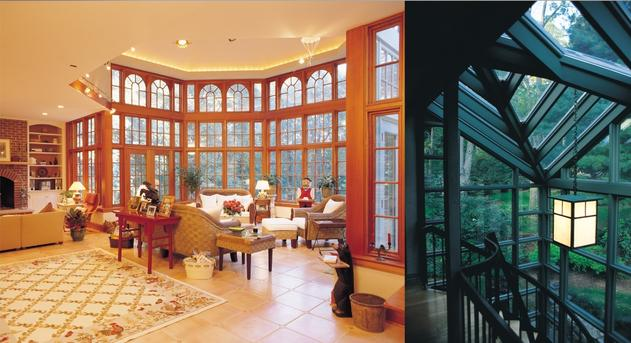 Wood window walls Renaissance Conservatories