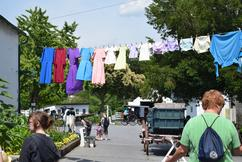 Amish clothes drying on clothesline