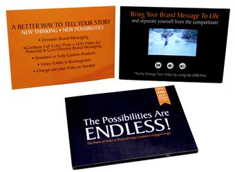 Video Brochure and Video Business card video greeting card, video in print, video book Images