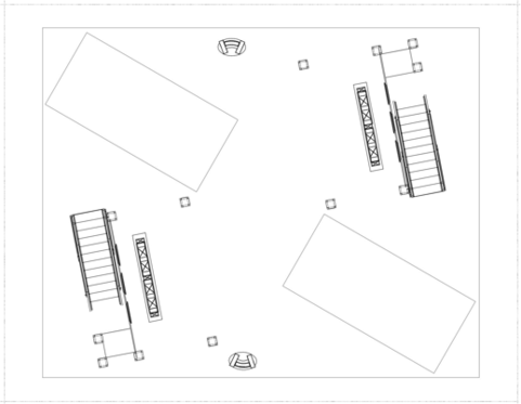Floor plan of a 50 x 40 double deck trade show exhibit Lift Hauling Company.