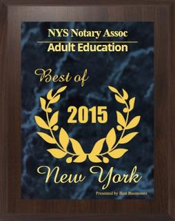 #1 NYS Notary Licensing Online Adult Ed 2016 Award
